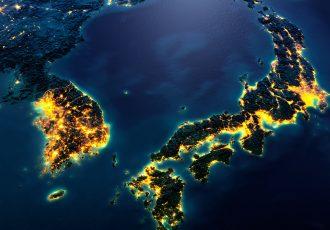 日本と韓国の夜の地図