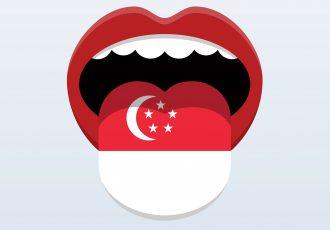 下の上に描かれたシンガポール国旗