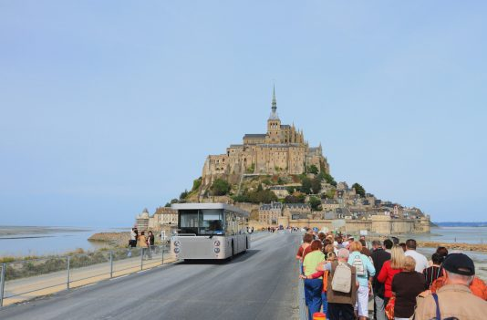 the road to Mont Saint Michel in france