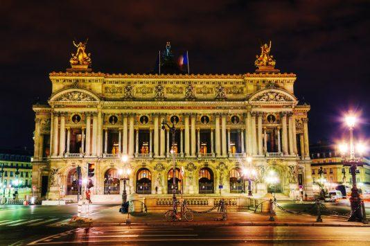 night view of Palais Garnier, paris