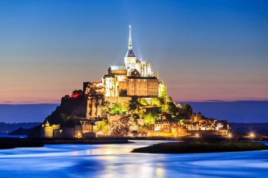 night view of Mont Saint Michel in france