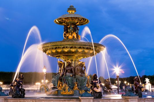 a jet of watera fountain of Place-de-la-Concorde in paris