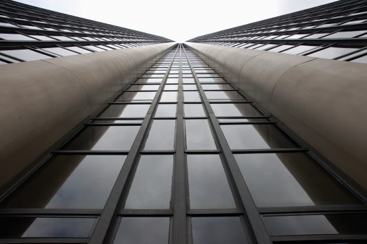 view from the bottom of Montparnasse Tower in paris