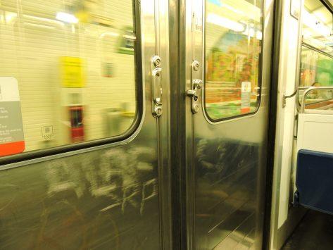 Door of train, Metro, Paris, France