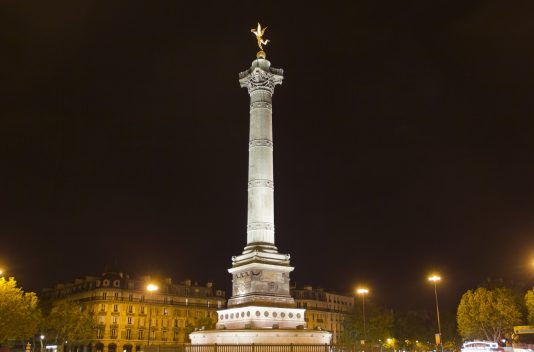 night view of Place de la Bastille