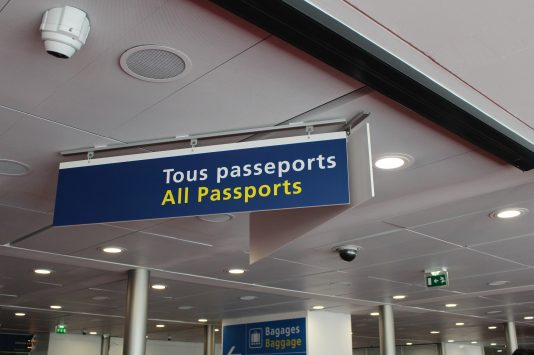 Signboard of entrance into Paris, France for foreigners