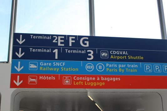 Signboard of train,bus, and taxi, Aéroport Roissy-Charles-de-Gaulle, Paris