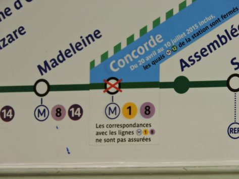 sign of under construction, metro station, Paris, France