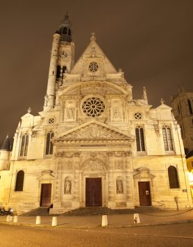 night view of St. Etienne du Mont