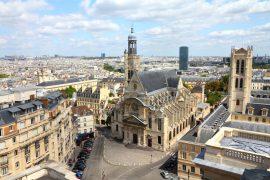 aerial city view with Saint Etienne du Mont church
