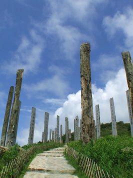 ハート・スートラに立つ木柱