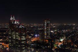 新宿西口の夜景と摩天楼