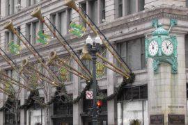 マーシャル フィールズの緑色の大きな時計